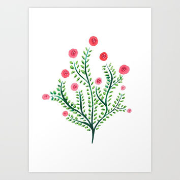 Abstract Spring Plant In Pink And Green Art Print by borianagiormova