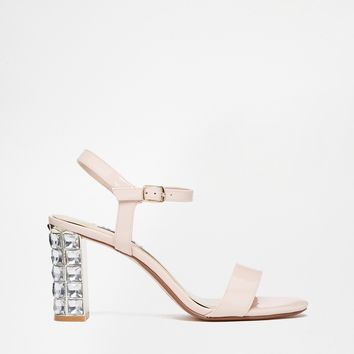 Dune Maia Patent Embellished Block Heeled Sandals
