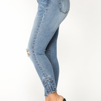 I Wanna Be Down Ankle Jeans - Medium Blue Wash
