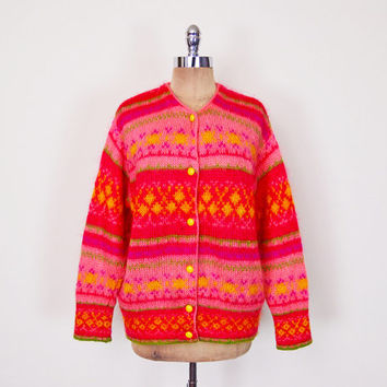 Vintage 70s Pink Fair Isle Sweater Jumper Fairisle Sweater Fair Isle Cardigan Fuzzy Mohair Sweater Mohair Cardigan Oversize Sweater L XL