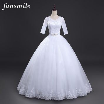 Fansmile Free Shipping Lace Ball Wedding Dress 2016 Plus Size Bridal Wedding Gowns Robe de Mariage Rose Vestido de Noiva