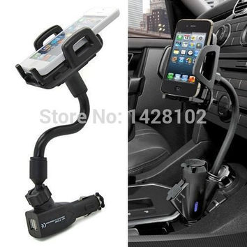HQ Car Cigarette Lighter Socket 2 Charging USB Port Charger Mount Holder For iPhone 4 5 6 plus galaxy S3 S4 S5 S6 note 2 3 4