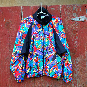 80s/90s Windbreaker... Posh Multicolor Jacket... Activewear Jacket... FRESH PRINCE (large)