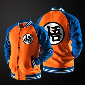 New Japanese Anime Dragon Ball kpop Varsity Jacket Fall casual Hoodie Jacket Coat Brand Baseball Jacket fleece long sleeve 2018
