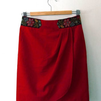 Red tapestry waist pencil skirt / embroidered / floral / wrap / pleated / dart / lined / vintage / handmade / reworked / light wool skirt