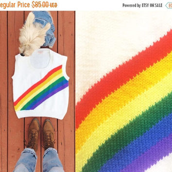 SALE Vintage Rare 1970's RAINBOW Striped Handmade Knit Sweater Vest Top || Ladies Size Medium Large