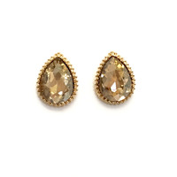 Crystal Tear Drop Stud Earrings In Bronze