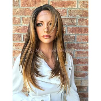 Mixed blonde hair front lace wig 1005