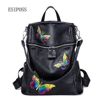 University College Backpack Esiposs Genuine leather  colorful butterfly pattern cow leather young girl student  fashion  style bagAT_63_4