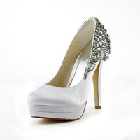 Jia Jia Women¡¯s Ladies Prom Bridal Wedding Shoes Size Women's Satin Stiletto Heel Closed Toe Platform Pumps With Rhinestone