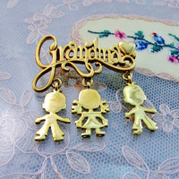 Vintage Brooch Grandmother Gold Tone With Dangle Children Charms Grandma Mother's Day Gift Item 1405