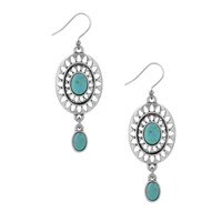 Lucky Brand Silver Openwork Double Drop Earrings