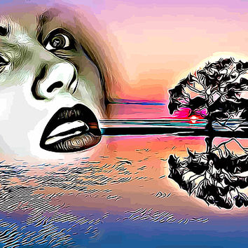 Lady Of The Lake Abstract Landscape Fantasy Art