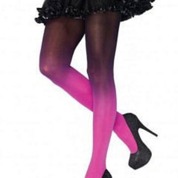 Trendy Opaque Gradient Ombre Tights in Fuchsia Pink