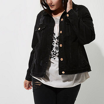 Plus black washed distressed denim jacket - jackets - coats / jackets - women