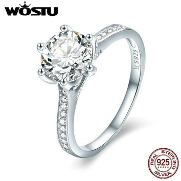 WOSTU 925 Sterling Silver 3 Carat AAAAA Round CZ Finger Ring for Women Luxury Wedding Anniversary Engagement Jewelry Gift CQR342