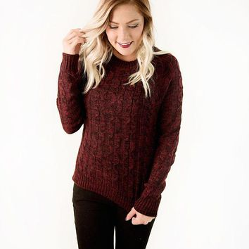 Asher Speckled Cable Knit Sweater