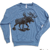 Womens MOOSE (In Snow Shoes) Tri-Blend Pullover - american apparel S M L (5 Color Options)