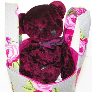 Rose Bear Teeny Tote Bag with Rose Bear Beany Toy in a Pink Rose Tote