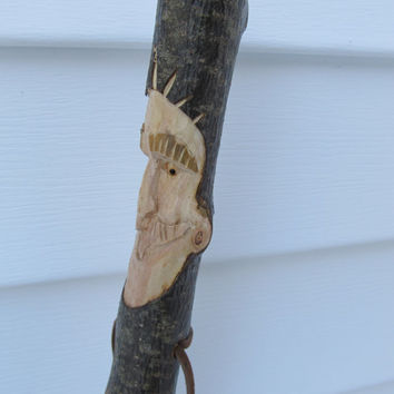 Walking Stick Hiking Stick Staff Hand Carved Stick Caricature Face Hand Made Gift for Hiker Gift for Walker Birthday Anniversary