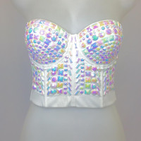 White Wonderland Rhinestone Crop Top