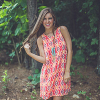 The Colors of Summer Aztec Shift Dress