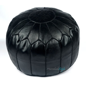 Moroccan Pouf, Black Leather Pouf, Round Ottoman Foot Stool Pouffe