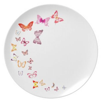 Colorful Butterflies Melamine Plate