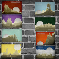 All 8 Game of Thrones locations movie posters minimalist poster ice and fire print television show art