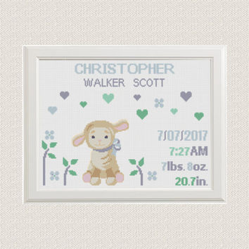baby boy Birth announcement cross stitch pattern animals lamb with hearts flower baby sampler birthday Nursery decor pattern pdf