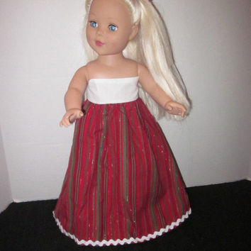 "American Girl Christmas Gown 18"" Doll Dress 18"" Doll Clothes Our Generation Dolls With Hairbow By Sweetpeas Bows & More"