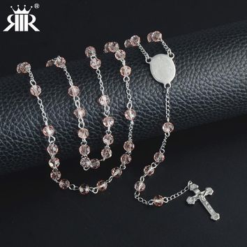 RIR Women Jesus Christ Cross Pink Crystal Bead 80cm Chain Stainless Steel Catholicism Pendant Rosary Pendant Long Necklace gifts