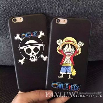 Cute Cartoon One Piece Luffy One Piece Soft Leather Cover Coque Fundas for iPhone 6 6S