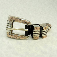 A Fonseca Mexico Sterling Silver Rose Gold Belt Buckle Set