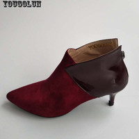 YOUGOLUN Women Ankle Boots Suede Leather Mid Thin Heels(6cm) Fashion Mixed Colors Pointed toe Shoes Woman Wine Red Black Boots