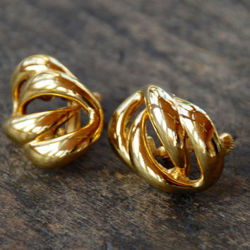 Vintage NAPIER Clip On Earrings Large Shiny Gold Tone Knot Adjustable 1980's // Vintage Designer Costume Jewelry