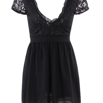 Sexy Plunging Neck Short Sleeve Spliced See-Through Dress