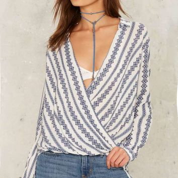 Up Around the Bend Plunging Blouse