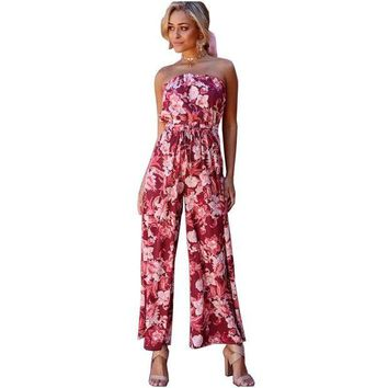 DCCKON3 NYMPH 2018 New Summer Women Jumpsuits Bohemian Wrapped Chest Elastic Waist Female Rompers Sexy Club Printed Overalls Plus Size