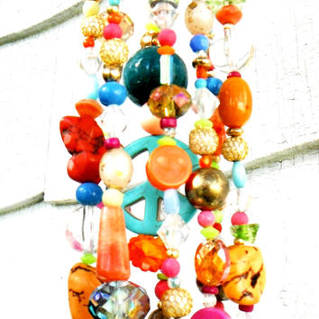 Hippie Boho Mobile, Beaded Sun Catcher, Hanging Garden Art, Crystal Wind Chimes, Recycled Jewelry Art, Porch Decor, Window Decor, Gift Idea