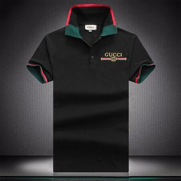 GUCCI 2018 summer new fashion embroidery letters casual POLO shirt short-sleeved T-shirt Black