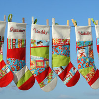 4 Personalized Christmas Stockings with Patchwork, Family Christmas Stockings in modern, bright Colours - set of 4 - Lined and Unique