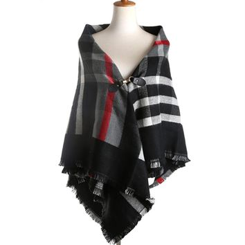 Leather Button Cape Scarf Plaid Big  Cotton Blanket Scarf Tassel Ponchos and Capes Wraps Tippet Scarf Winter Shawls