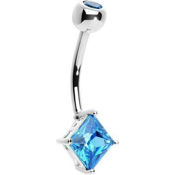 14KT White Gold Blue Topaz Princess 6mm Cubic Zirconia Belly Ring