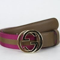 NEW GUCCI Web Leather Belt w/Interlocking G Buckle Brown/pink 115/46 114874 5564