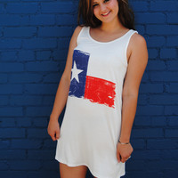 Vintage Texas Flag Tank Tunic Dress in Ivory