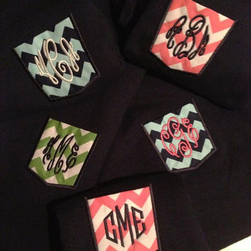 Monogram Frocket Pocket Tee Chevron Fabric Greek