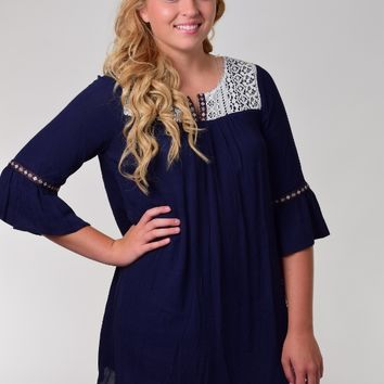 Kori America Navy Blue Peasant Dress with Bell Sleeves and Lace Trim
