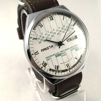 "LARGE Vintage men's watch ""ROCKET"" (Raketa), mechanical Soviet wristwatch with rare double calendar,brand new leather band,gift for him."