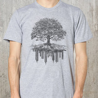 Men's T-Shirt - Tree and Crumbling City - Men's Graphic Tee - Men's Small Through 2XL Available